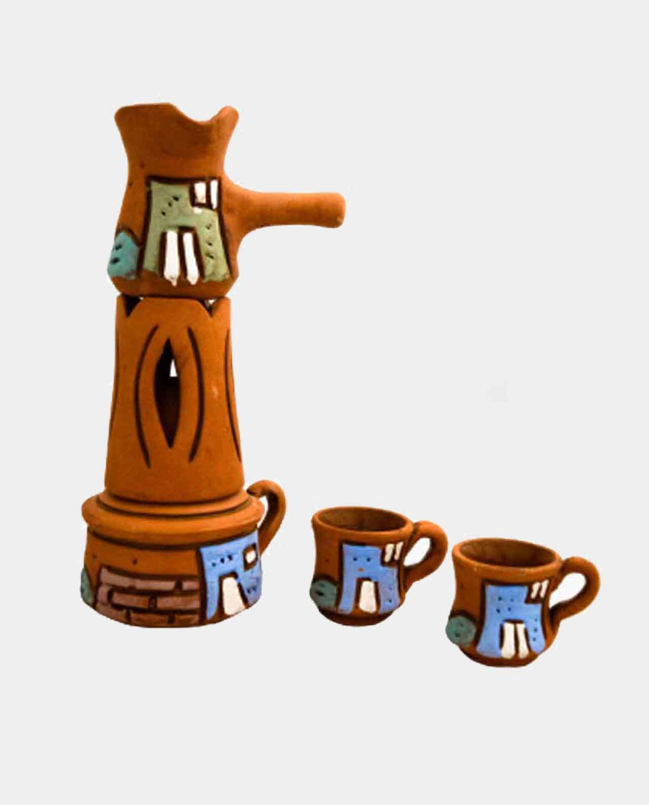 Coffee Pots with Sbertih Burner and two cups all things handmade of pottery