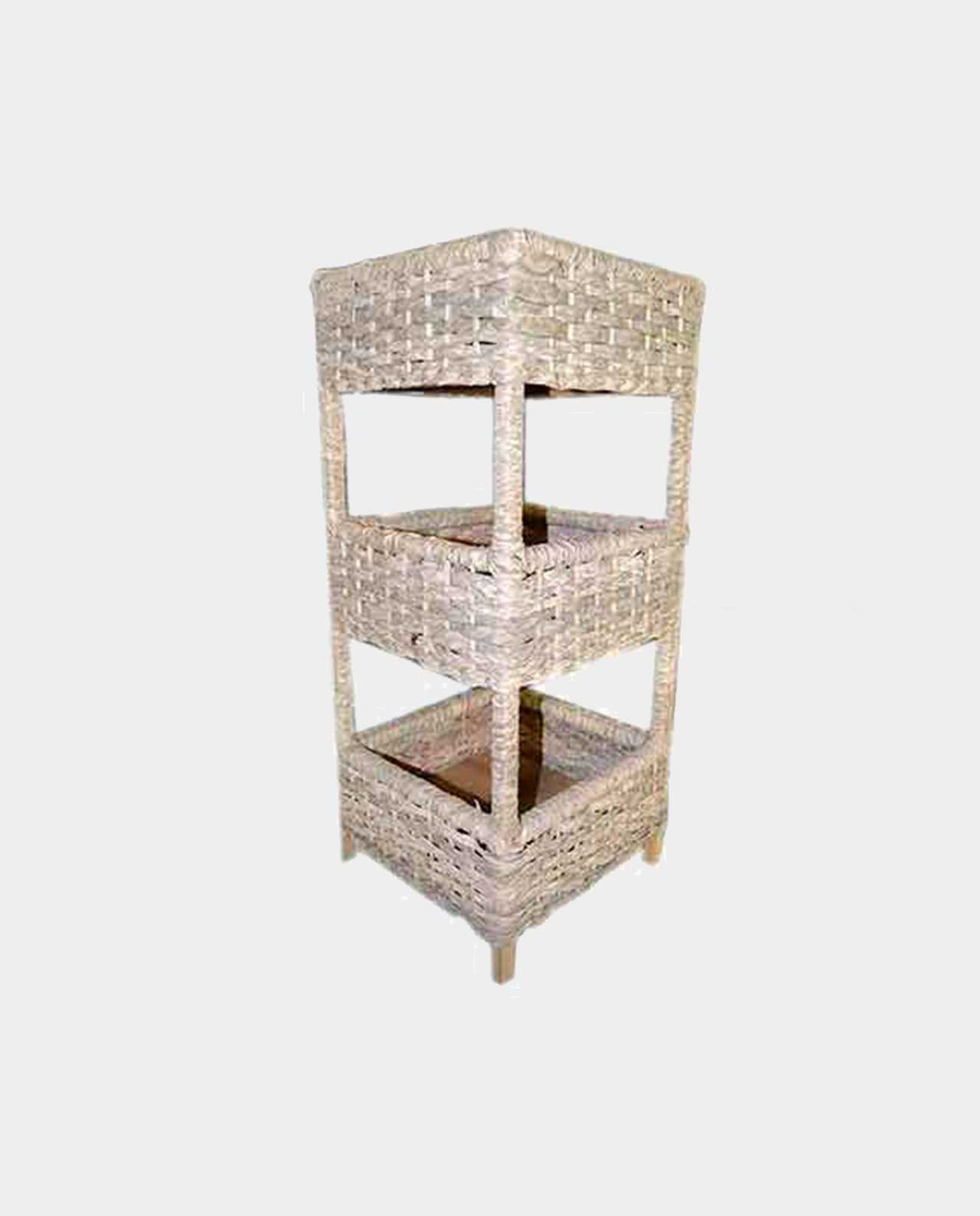 A Natural Large Tiered Wood & wicker Crate Stand Handmade Of wicker 80x36 cm