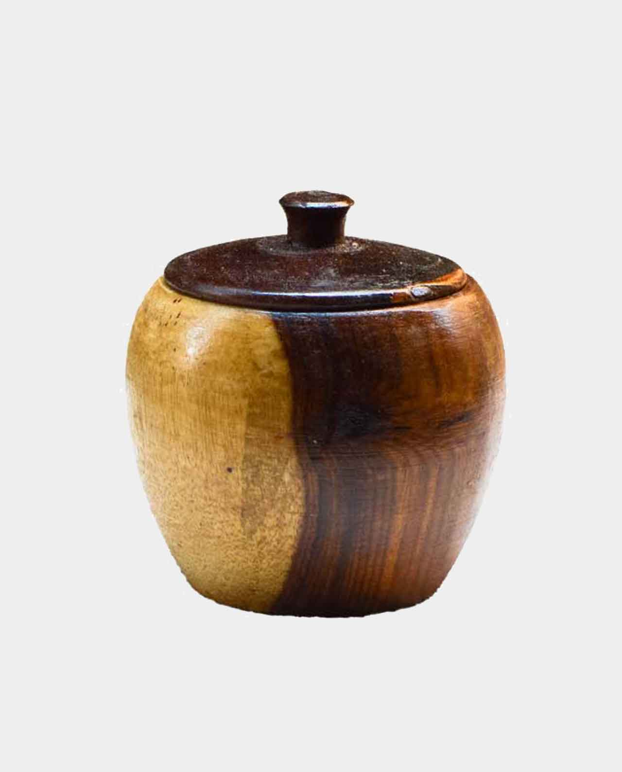 1 piece Spice jar with lid Handmade of Asersus wooden 9 cm