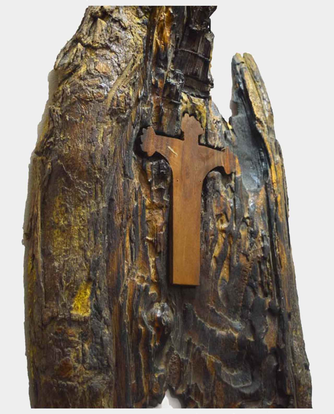 Christ's cross in the form of a wing of the Virgin Handmade of Asersus wooden