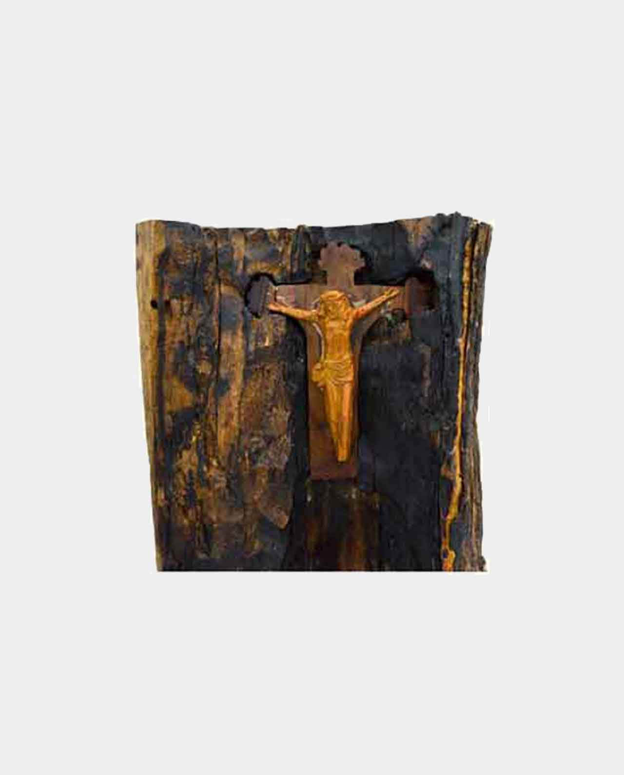 Christ's cross in the form of a Tree trunk Handmade of Asersus wooden 23 cm