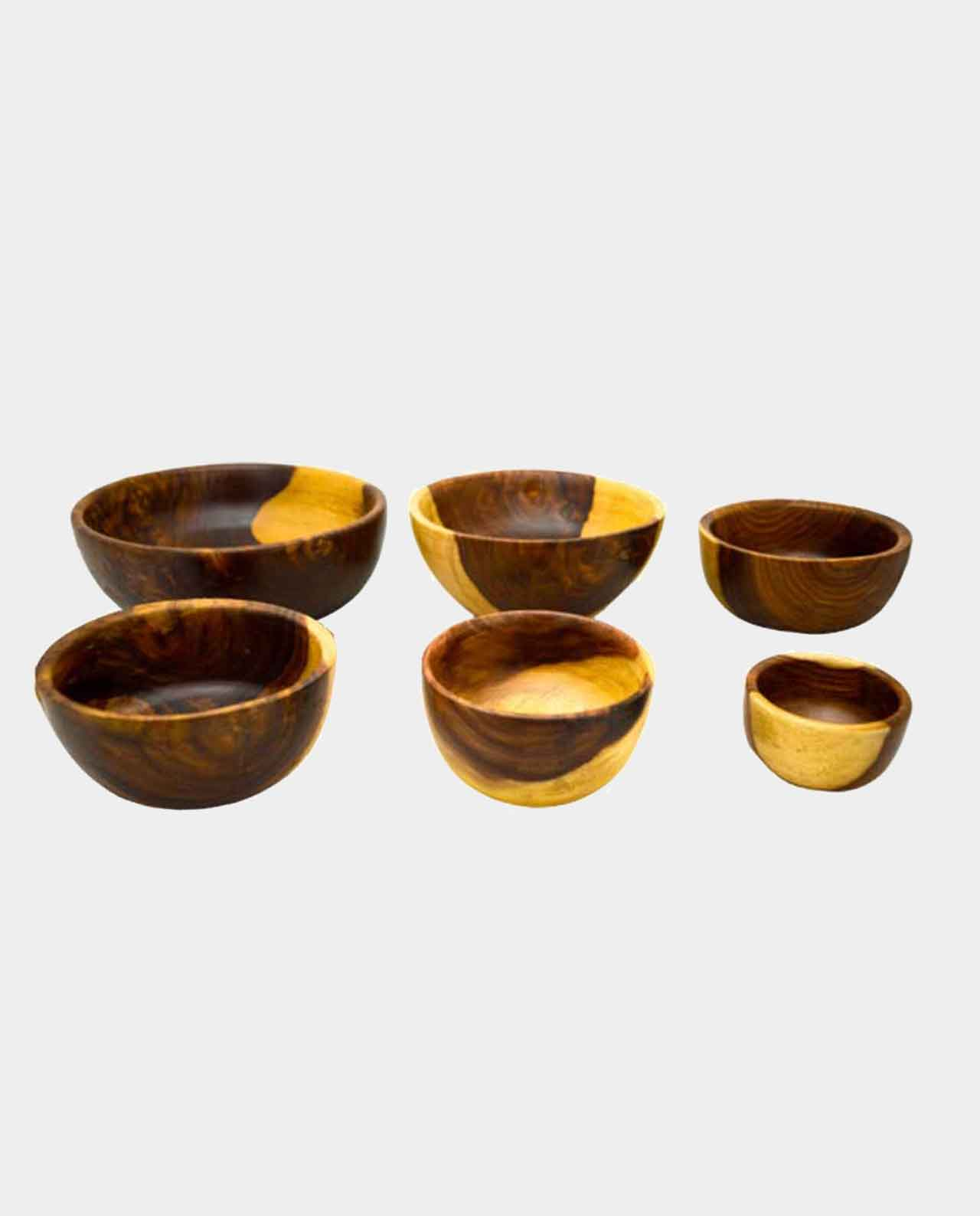 6 Piece Natural Wooden Bowl Handmade of Asersus with the original texture and color of the tree trunk