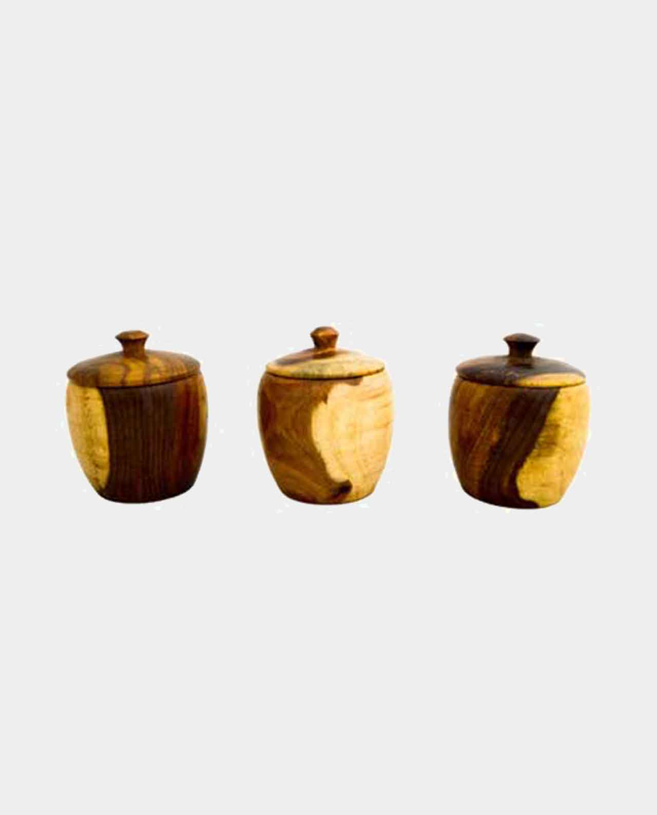 3 piece Spice jar with lid Handmade of Asersus wooden 9 cm